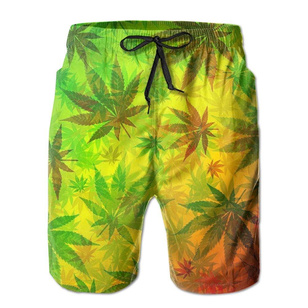 Marijuana Weed Leaves Hunting Loose Patterned Designer Summer Short