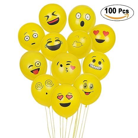 YMKJSZ Emoji Balloons 100Pcs Globos de látex, Smiley Face Globos para el cumpleaños del niño