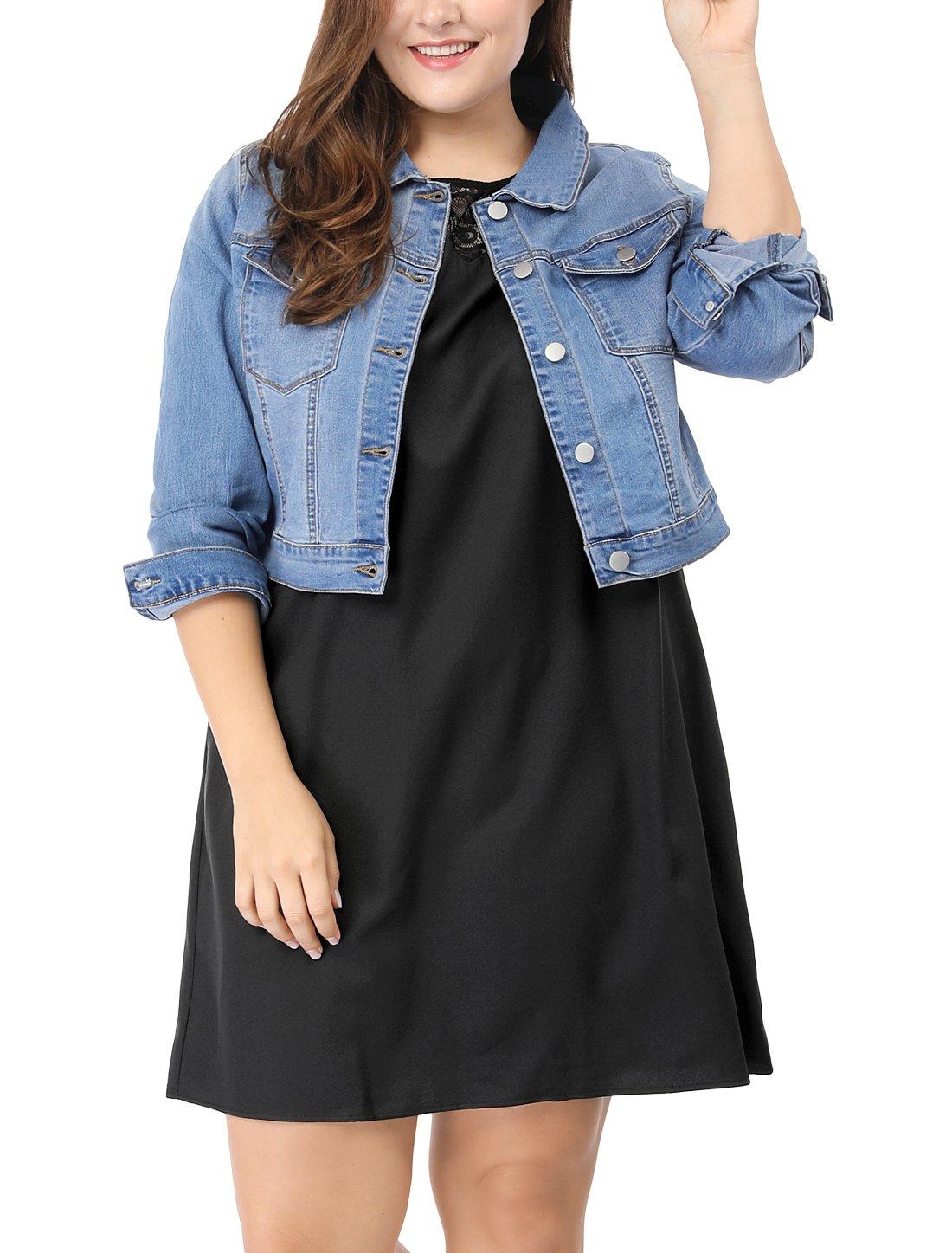 Agnes Orinda Women's Plus Size Button Closed Cropped Denim Jacket 1X Light Blue