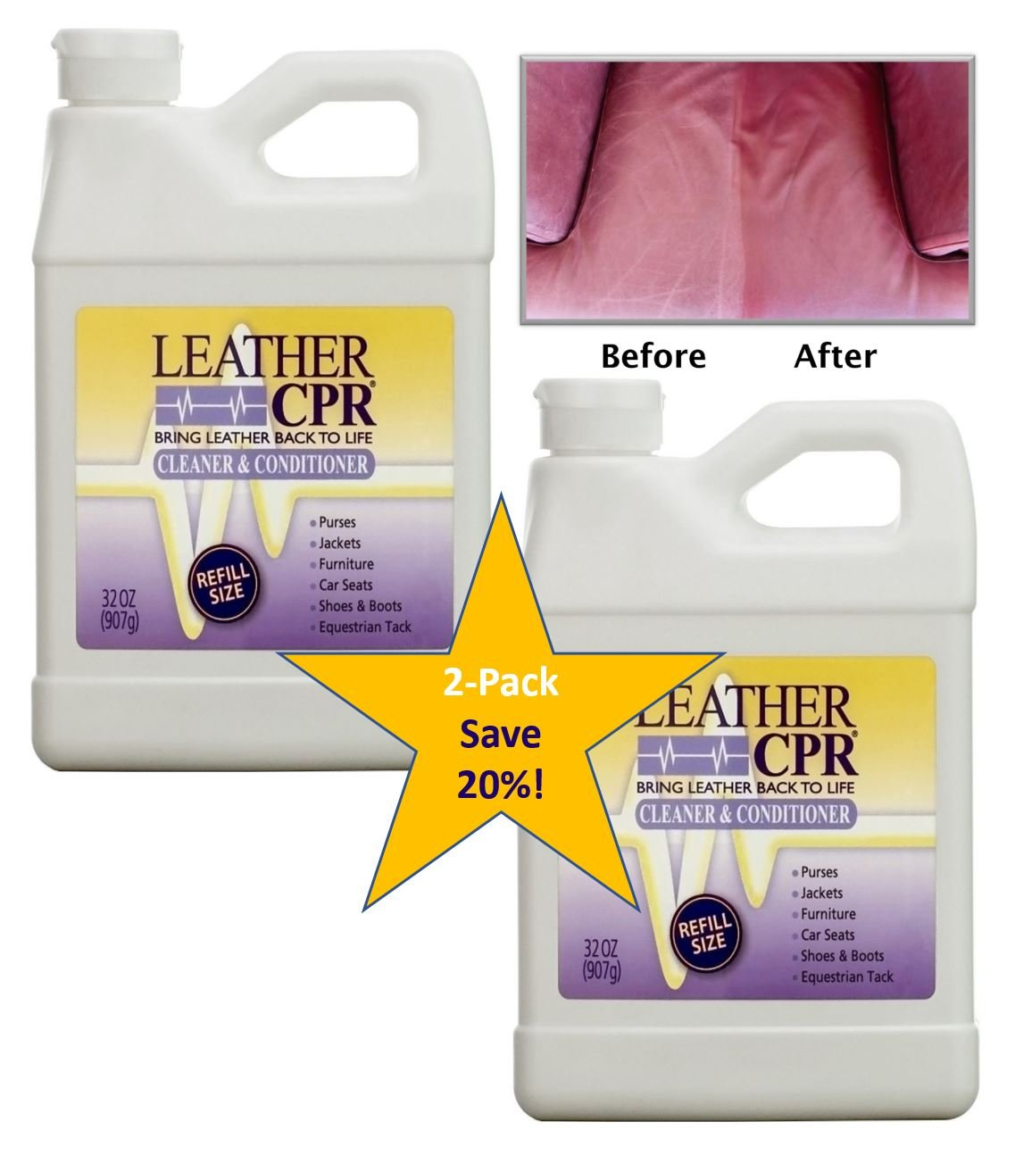 101feab042e Leather CPR (2PK   32oz Bottles) - Dermatologist Tested   100%  Irritant-Free Leather Cleaner   Conditioner for Your Home – Works Wonders  on Furniture