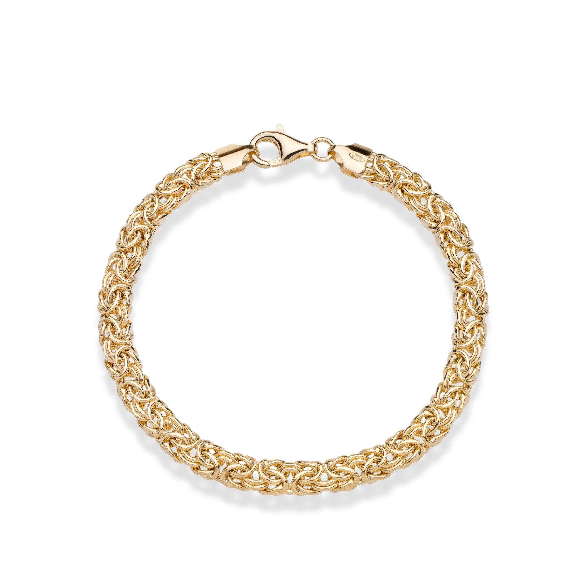 MiaBella 18K Gold Over Sterling Silver Italian Byzantine Bracelet, 7.25''-8'' (7.25)