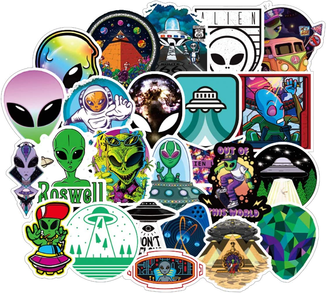 Alien ET Cartoon Laptop Stickers Waterproof Skateboard Car Snowboard Bicycle Luggage Decal 50pcs (Alien)