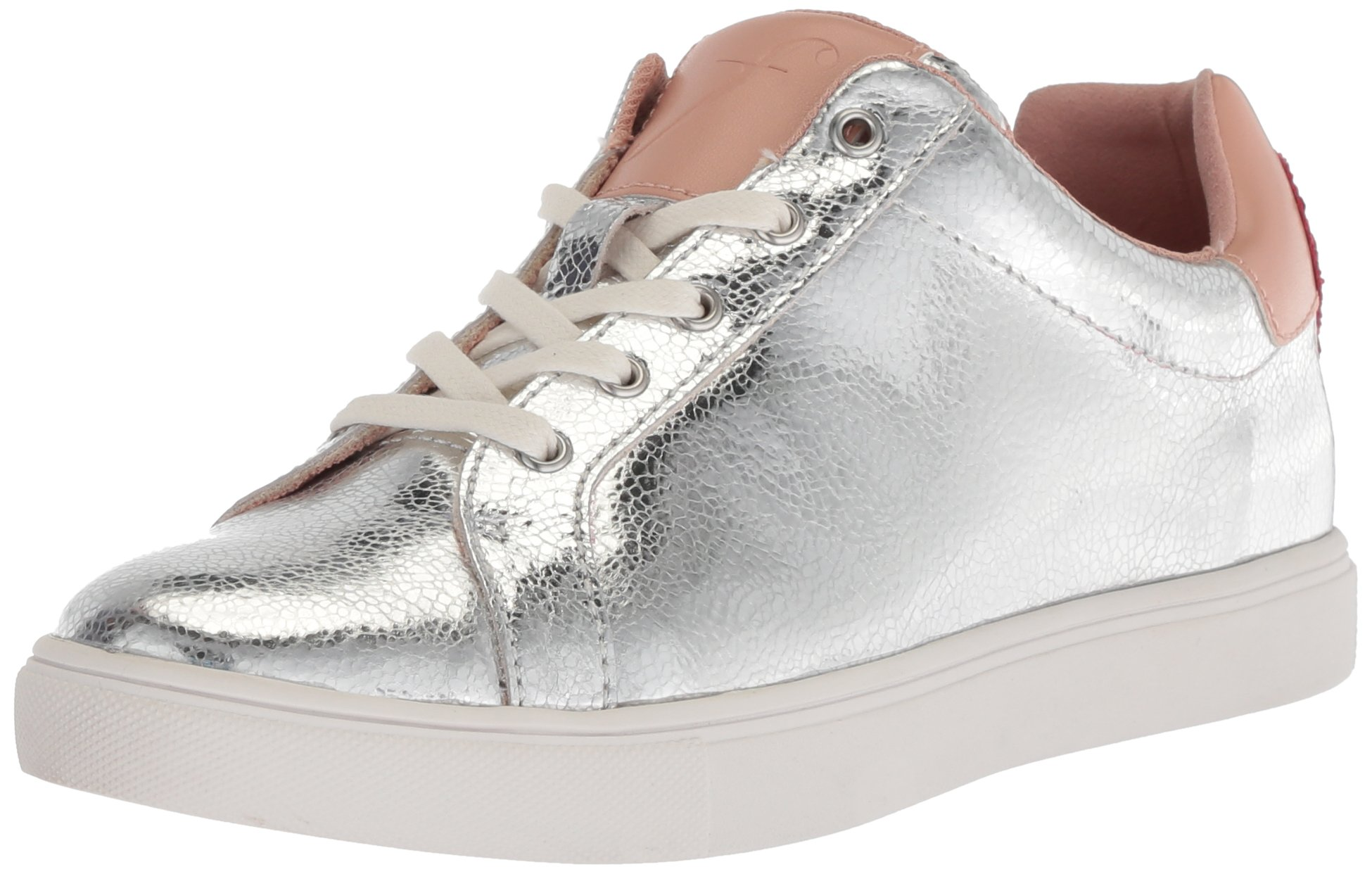 The Fix Women's Tailor Heart Lace-up Fashion Sneaker, Silver Crackle Leather, 9 B US