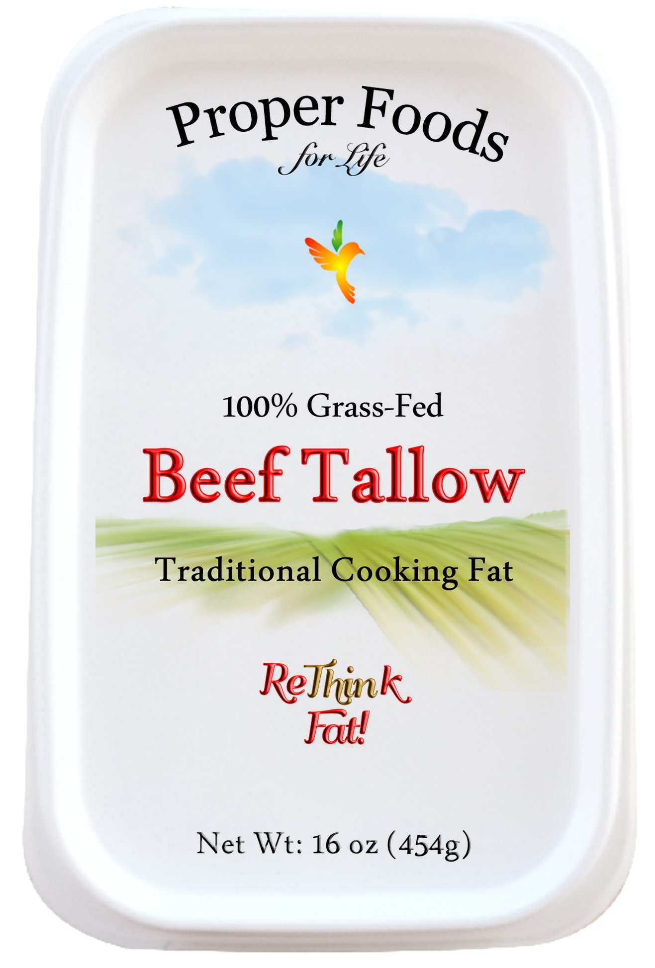 Proper Foods 100% Grass-Fed Beef Tallow - Pasture Raised - Pure Rendered Tallow - For Cooking, Baking & Frying - 1 lb (16 oz) Tub