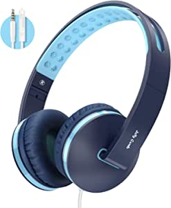 Kids Headphones for School, Jelly Comb Boys Lighhtweight Foldable Stereo Bass Kids Headphones with Microphone, Volume Control for Cell Phone, Tablet, Laptop, MP3/4- for Aged 6 or Above (Blue)