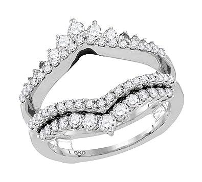 Amazoncom 14kt White Gold Womens Round Diamond Wrap Ring Guard