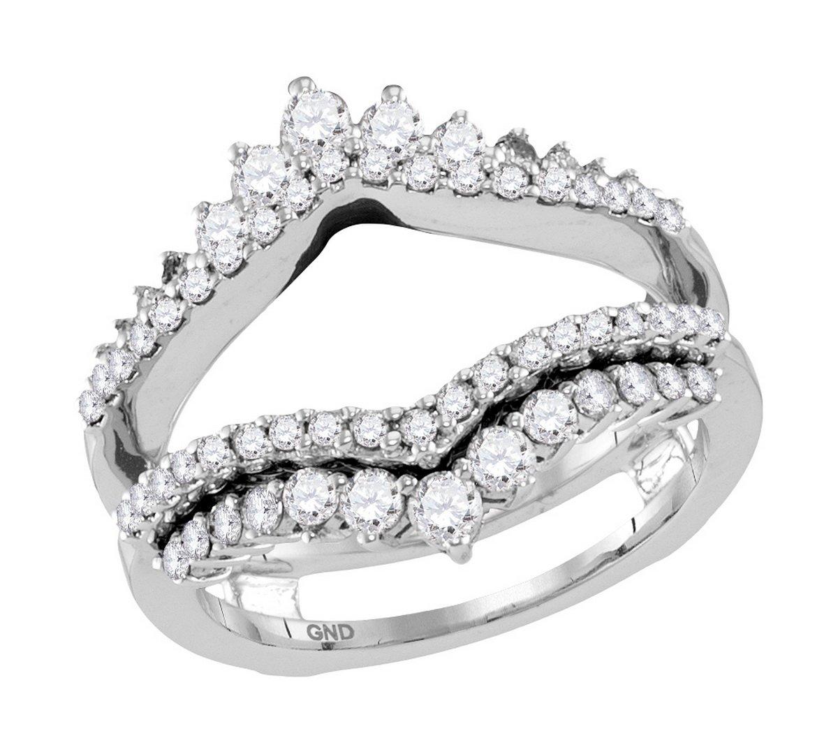 14kt White Gold Womens Round Diamond Wrap Ring Guard Enhancer Wedding Band 1.00 Cttw (I1-I2 clarity; H-I color)
