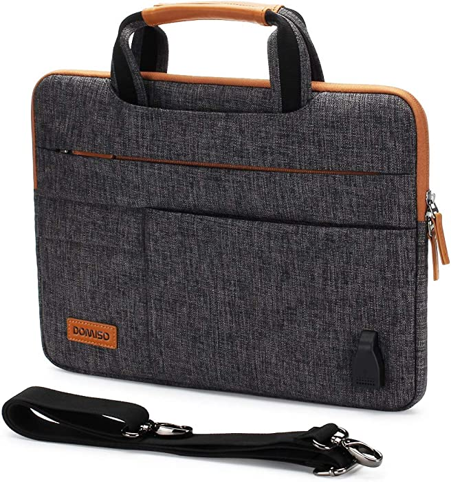 DOMISO 15.6 Inch Multi-Functional Laptop Sleeve Business Briefcase Messenger Bag with USB Charging Port for 15.6