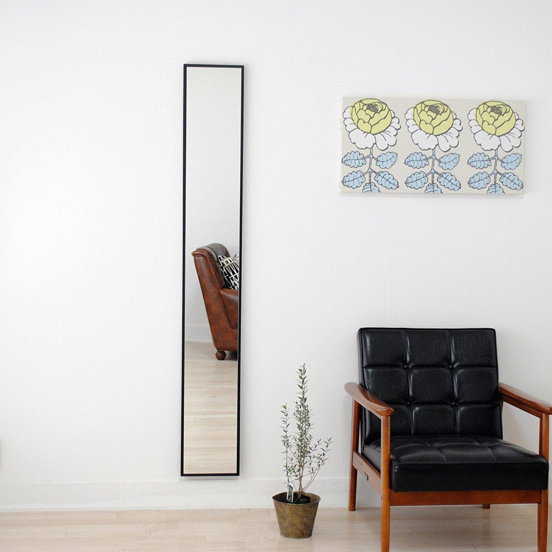 SENNOKI 細枠 全身 鏡 姿見 壁掛け ウォールミラー ブラック 日本製 22cm×153cm B0711R6X5L ブラック ブラック