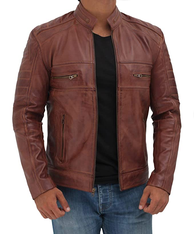 Blingsoul Brown Leather Jacket for Men - Distressed Motorcycle Real Leather Jackets