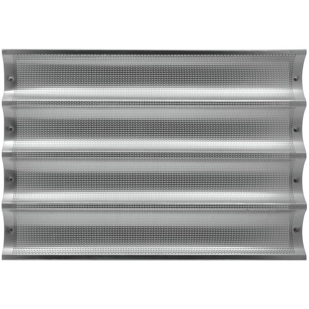 HUBERT Baguette Pan Perforated Full Size Aluminum 4-Long - 26'' L x 3 3/4 W Loaf Size