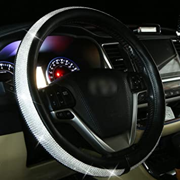 Universal 15 inch Anti-Slip,Black Diamond KAFEEK Diamond Leather Steering Wheel Cover with Bling Bling Crystal Rhinestones