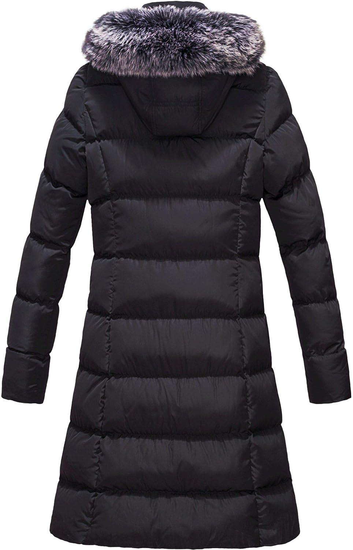 ELORA Womens Winter Puffer Mid Length Cargo Pocket Coat Fur Trim Removable Hood
