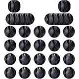 OHill Pack of 24 Self Adhesive Black Cable Clip Holders for Organizing Cable Cords Home and Office