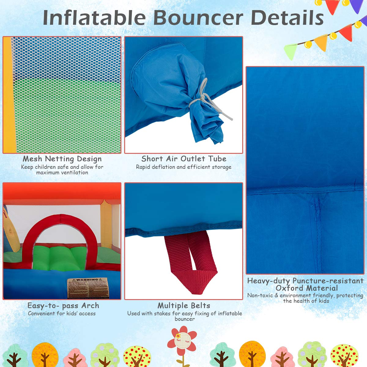 Costzon Inflatable Bounce House, 5-in-1 Water Slide w/ Climbing Wall, Jumping Area, Splash Pool, Water Cannon, Including Oxford Carry Bag, Repairing Kit, Stakes, Hose, Without Blower by Costzon (Image #4)