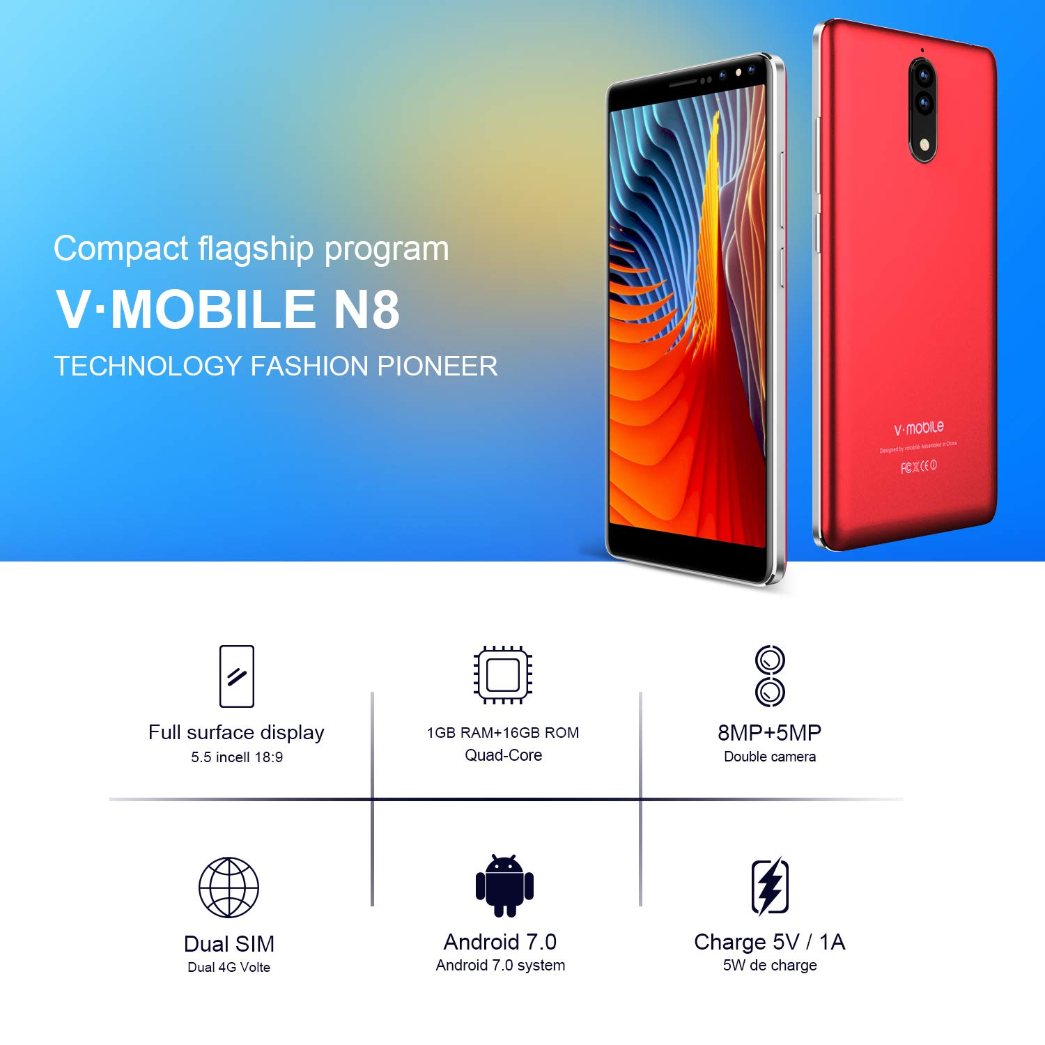 Amazon com: Unlocked Cell Phones or Smartphones, v mobile N8