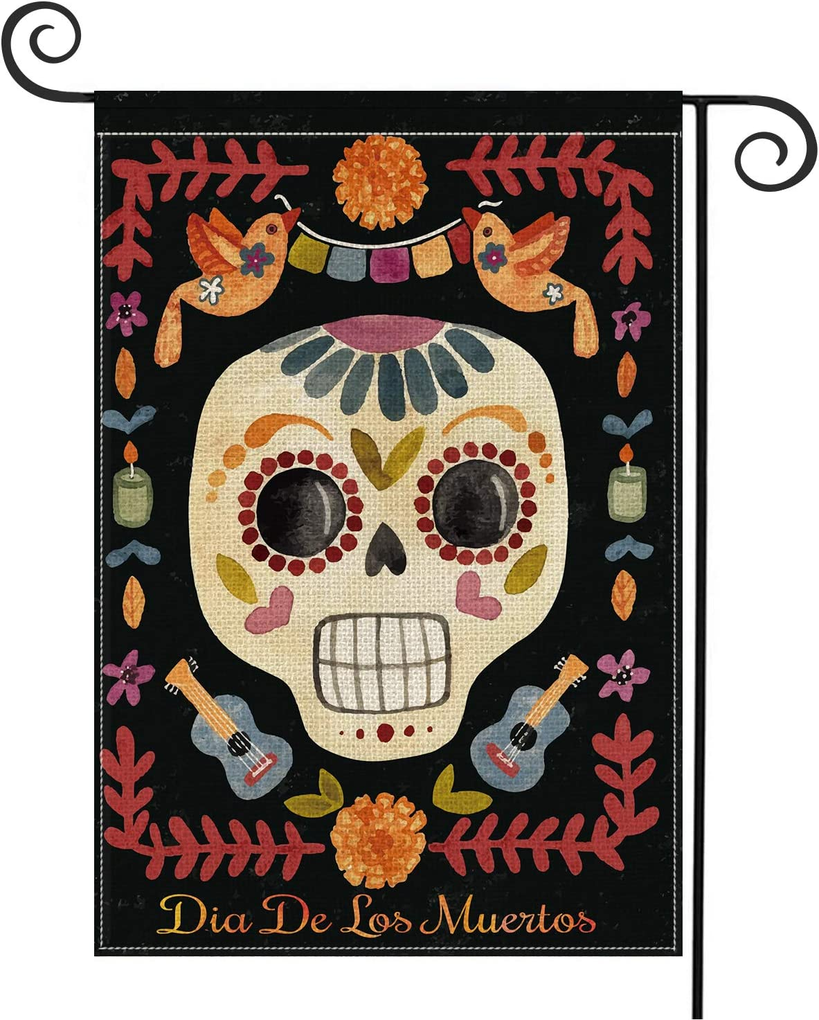 AVOIN Sugar Skull Garden Flag Vertical Double Sized, Dia De Los Muertos Day of The Dead Halloween Yard Outdoor Decoration 12.5 x 18 Inch