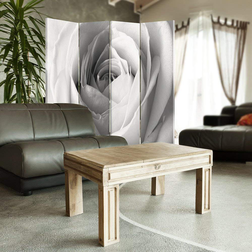 BLACK WHITE Decorative Room Divider 145x150 cm Paravent WHITE ROSE Feeby Frames Canvas Screen Double sided 4 panels