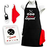 BBQ Black Apron with Pockets - Bottle Opener and Towel Included - Ideal Gift - Grill Apron for Men and Women - Best Adjustable Barbecue Cotton Apron with Funny Message