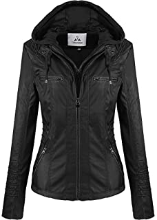 60118f75e Beauty Island Womens Hooded Faux Leather Motorcycle Jacket Plus Size ...