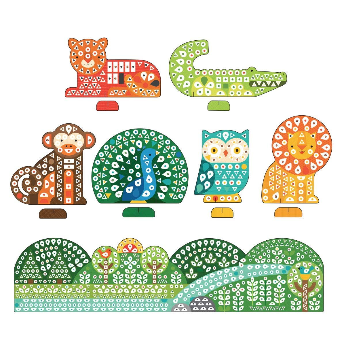 Animal Friends Petit Collage Mosaic Sticker Art Kit with Over 1000 Stickers