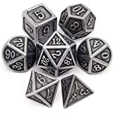 Haxtec Antique Iron DND Metal Dice Set Silver Pirate D&D Polyhedral Dice for Dungeons and Dragons TRPG