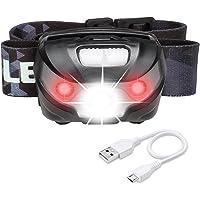 LE USB Wiederaufladbar Stirnlampe LED Kopflampe 5 Lichtmodi USB Kabel inkl. Scheinwerfer und Rotlicht IPX4 wasserfest Ideal für Camping Joggen Campinglampe Aussenleuchte