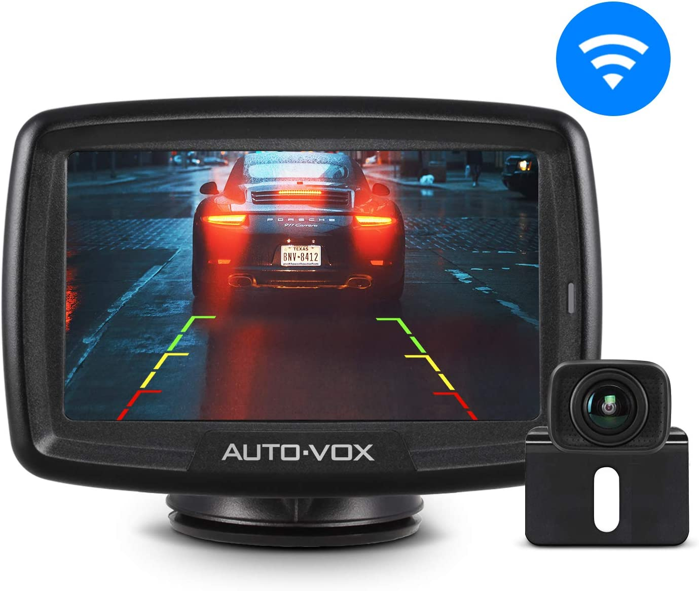 AUTO-VOX CS-2 Wireless Backup Camera Kit with Stable Digital Signal, 4.3'' Monitor & Rear View Camera for Truck, Van, Camping Car, SUV
