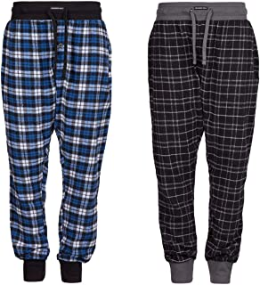 Style It Up Pack of 2 - Mens Pyjama/Lounge Pants - Check Design with Elasticated Waist and Cuffs
