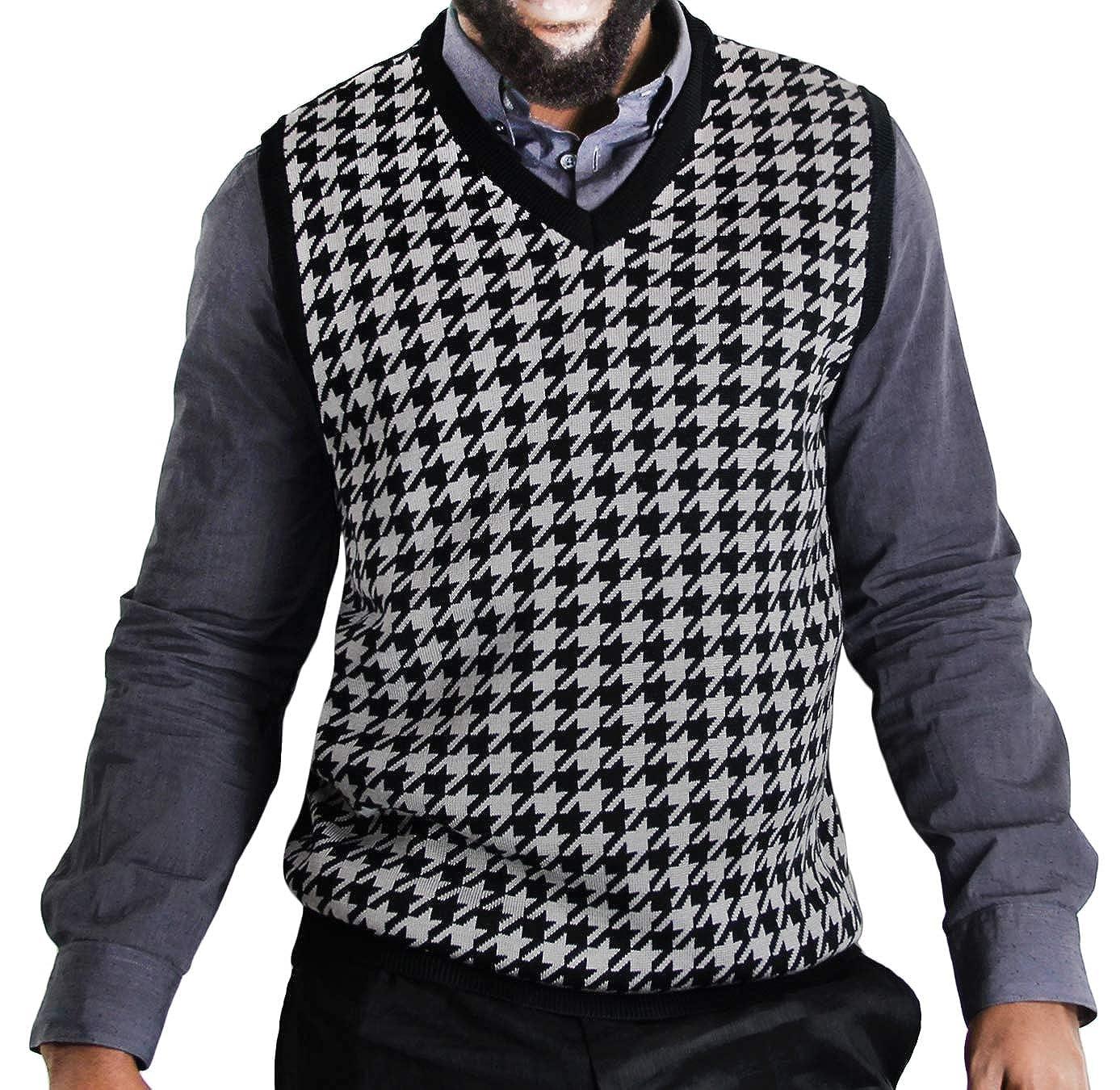 Blue Ocean V-Neck Sweater Vest Big Men Hounds-Tooth Jacquard