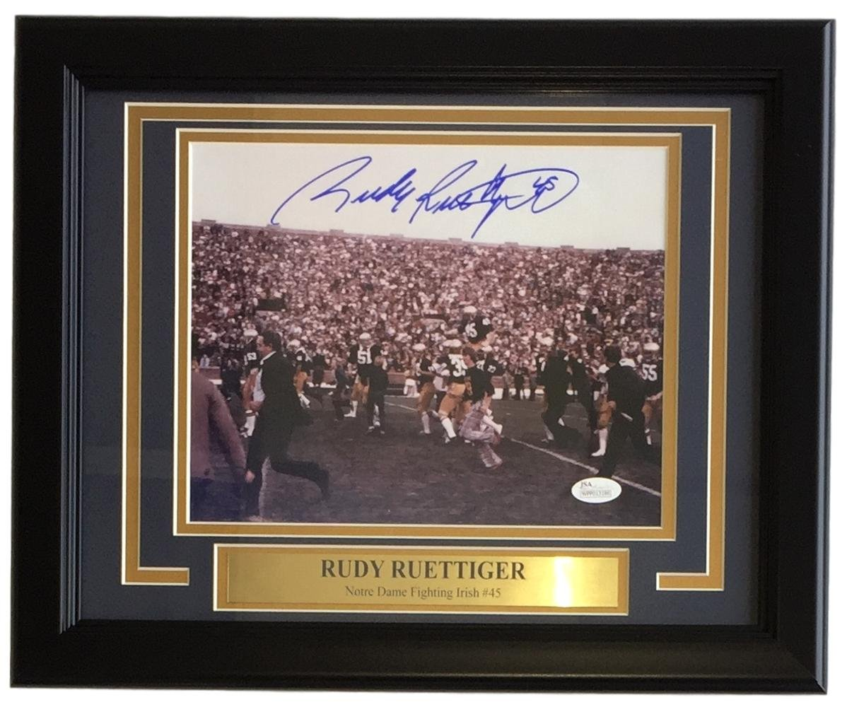 Rudy Ruettiger Signed Framed 8x10 Notre Dame Carry Off Field Photo JSA