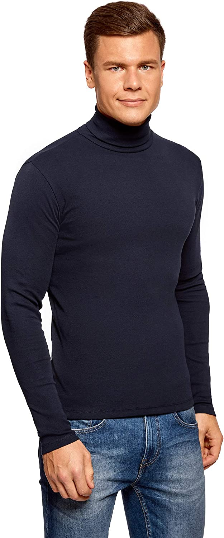 oodji Ultra Mens Basic Cotton Turtleneck Pullover