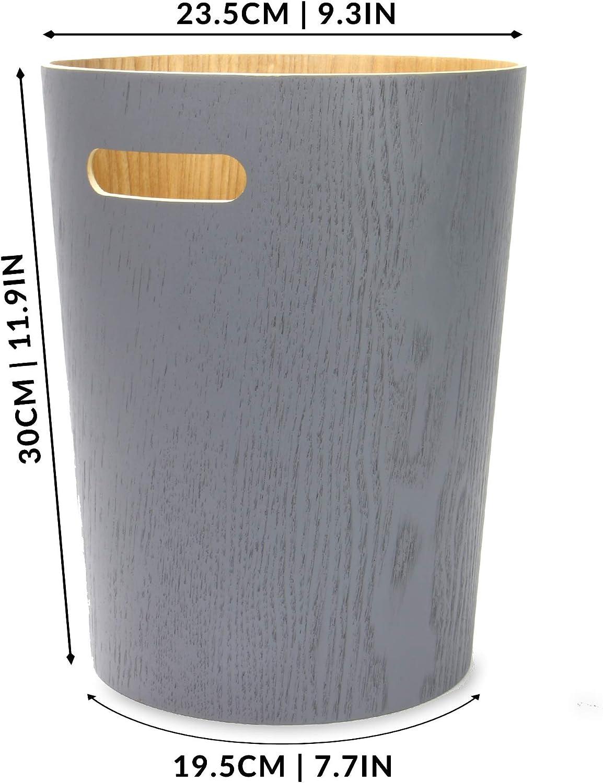 Pattumiera per soggiorno Grigio Cestino della carta straccia di legno M/&W Cestino della carta da scrivania Bidoni per il riciclaggio di uffici e camere da letto