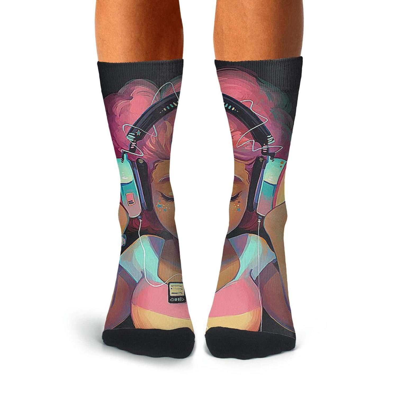 KCOSSH African Black Girl Crazy Crew Socks Moisture Calf Sock for Mens