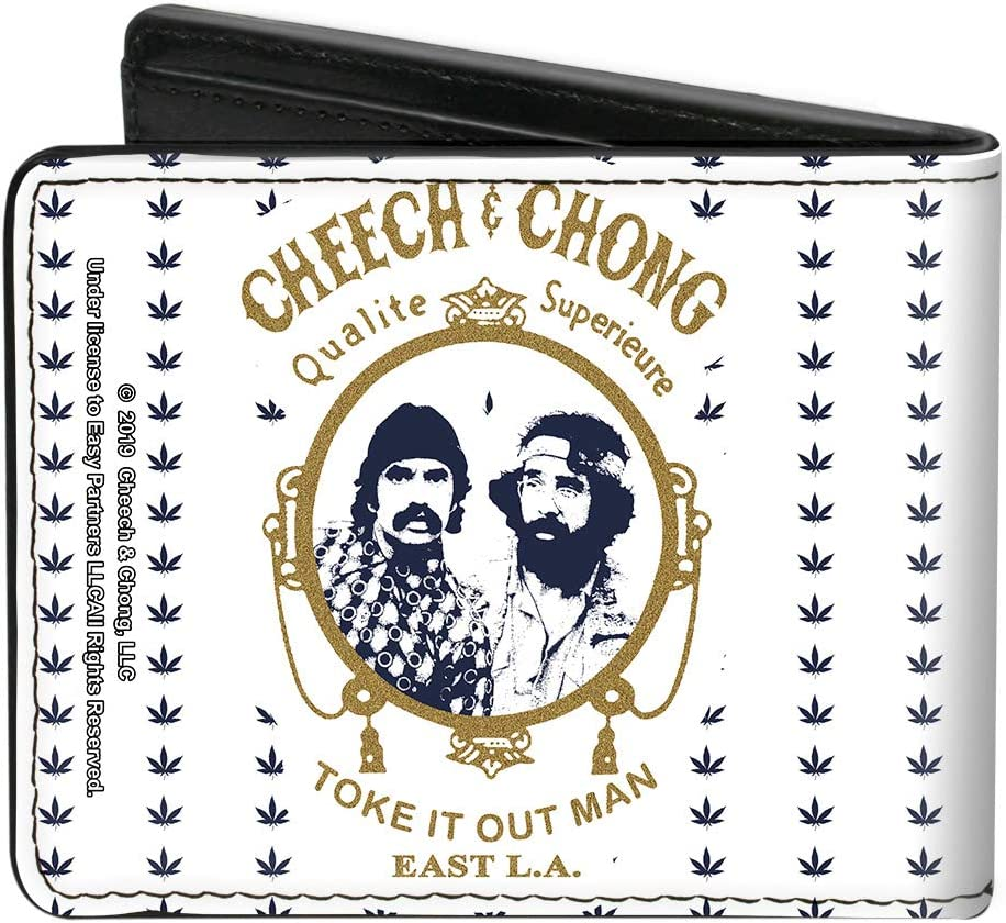 Wallet Bifold PU Cheech Chong Rolling Papers Mirror Pot Leaves White Blue Gold