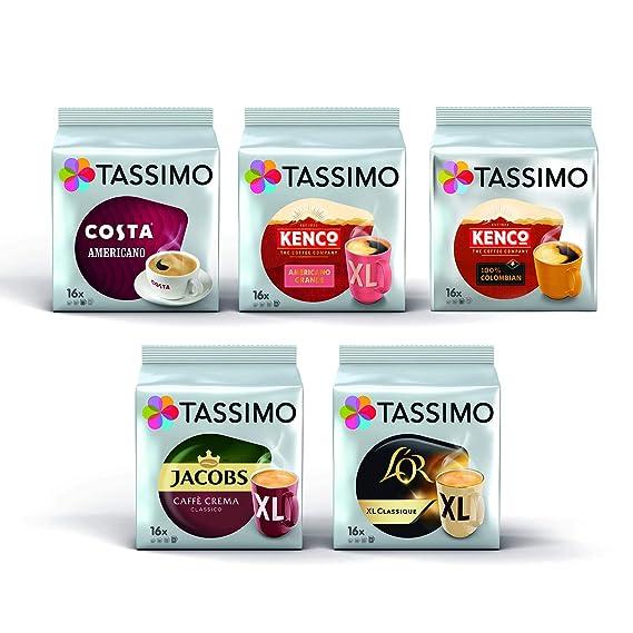 Tassimo Black Coffee Bundle Costa Americano Kenco Pure Colombianamericano Grande Lor Classique Xl Jacobs Caffe Crema Classico Xl Pods Pack Of