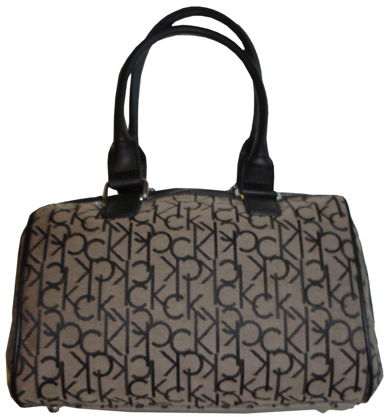 Amazon.com  Women s Calvin Klein Purse Handbag Signature Logo Satchel Khaki  Black  Clothing a68a8cf99c