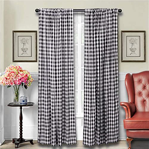 LGHome Black and White Buffalo Check Curtains Gingham Window Panels, 53x84inch,Pack of One Pair