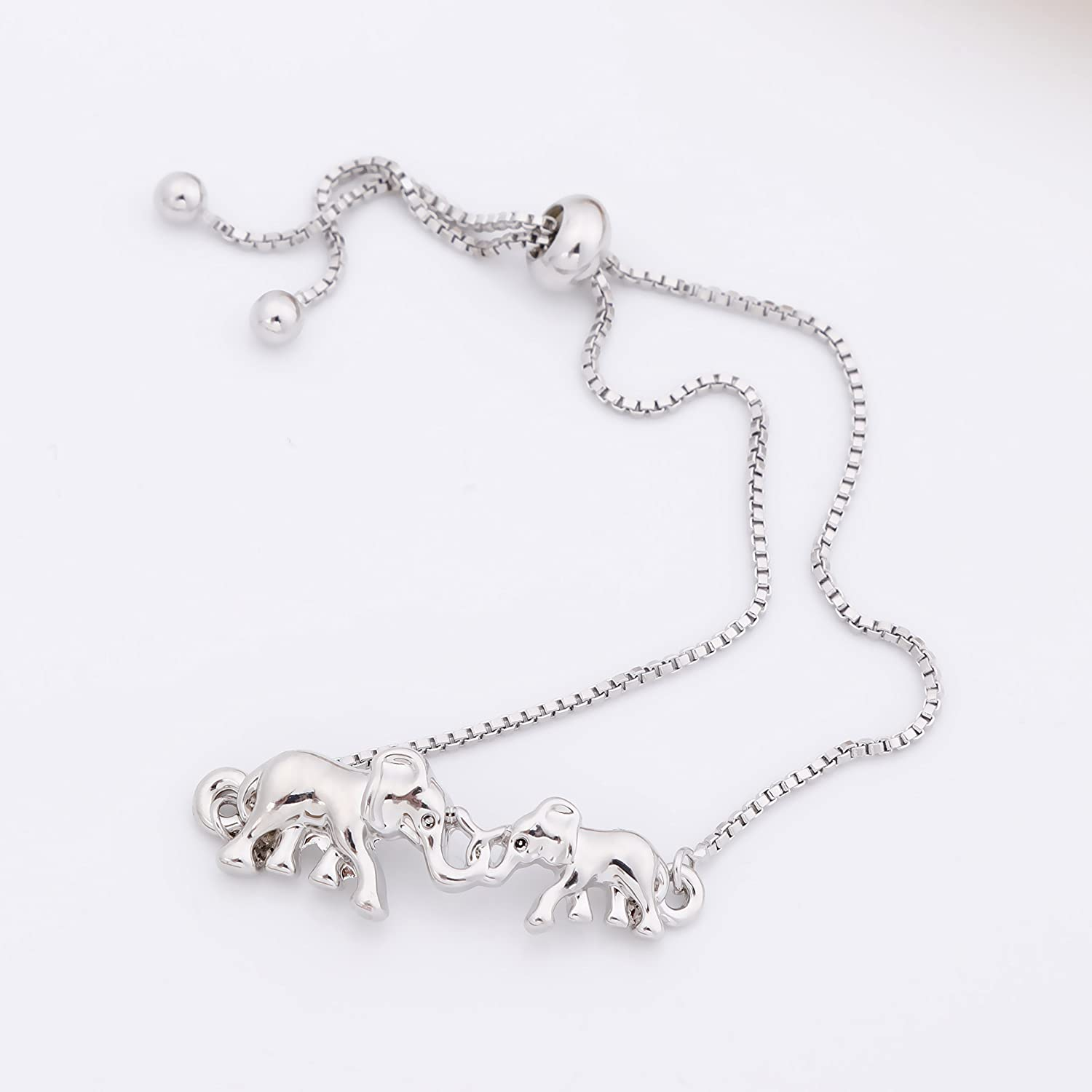 RUXIANG Crystal Mother and Child Elephants Bangle Animal Adjustable Chain Bracelet Jewelry