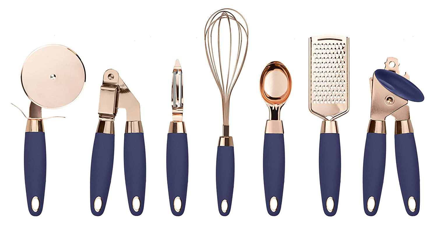 COOK With COLOR 7 Pc Kitchen Gadget Set Copper Coated Stainless Steel Utensils with Soft Touch Nylon Navy Handles