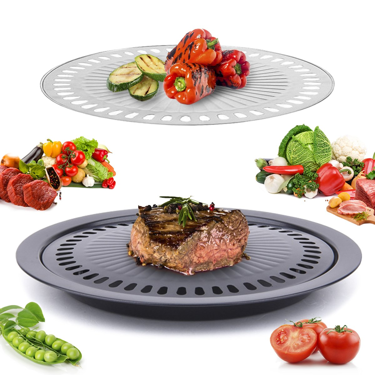 Janolia Korean Stovetop, Stainless Steel Non-Stick Smokeless Roasting Round Barbecue Grill Pan for Indoor Outdoor BBQ with 2 Pcs Roasting Pans for Cooking Meat and Vegetable Separately
