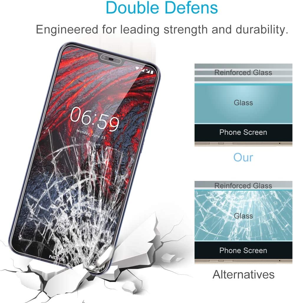 JIANGNIUS Screen Protectors 100 PCS 0.26mm 9H 2.5D Explosion-Proof Tempered Glass Film for Nokia 6.1 Plus