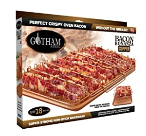 Gotham Steel 1937 Bonanza XL Healthier Perfectly Crispy Oven-Bacon Drip Rack Tray with Pan with Nonstick Easy Clean Surface – As Seen on TV