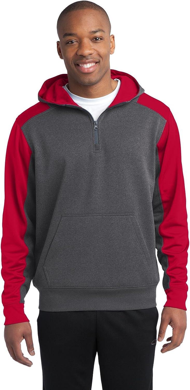 Sport-Tek Tech Fleece Colorblock 1//4-Zip Hooded Sweatshirt ST249 Graphite