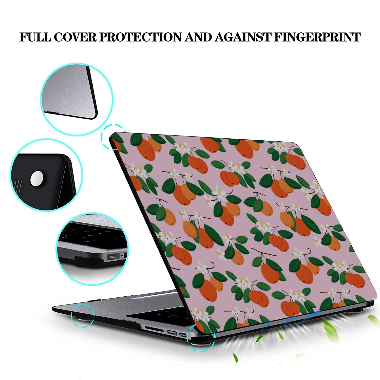 MacBook Air 13 Accessories Summer Retro Sweet Sour Orange Tree Plastic Hard Shell Compatible Mac Air 11 Pro 13 15 MacBook Pro Screen Protector Protection for MacBook 2016-2019 Version