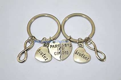 Amazoncom Brother Sister Keychains Partners In Crime Set Best