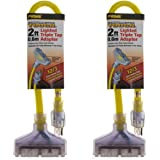 2 Pack Prime Lighted 2ft Triple Tap Adapter Extension Cord 3-Prong Outlet Splitter