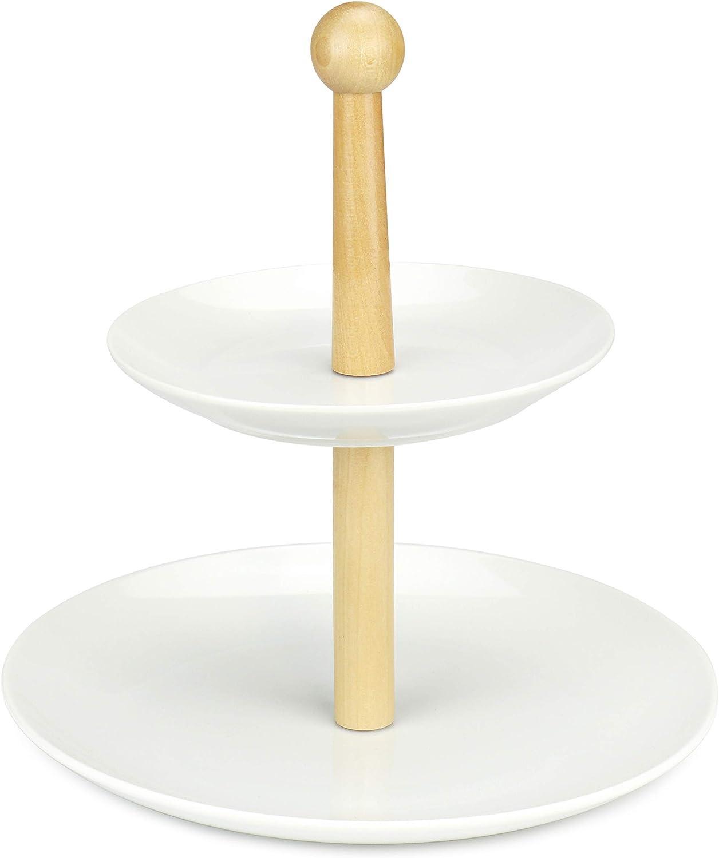 Rack de almacenamiento de porcelana de 2 niveles