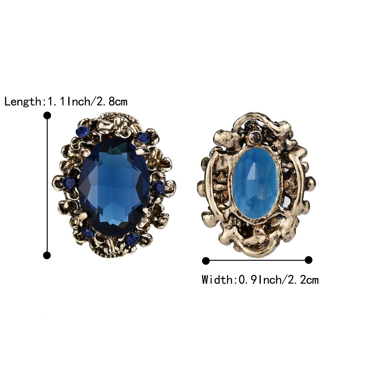 BriLove Antique-Gold-Toned Stud Earrings Women's Victorian Style Crystal Floral Scroll Cameo Inspired Oval Earrings Sapphire Color by BriLove (Image #5)