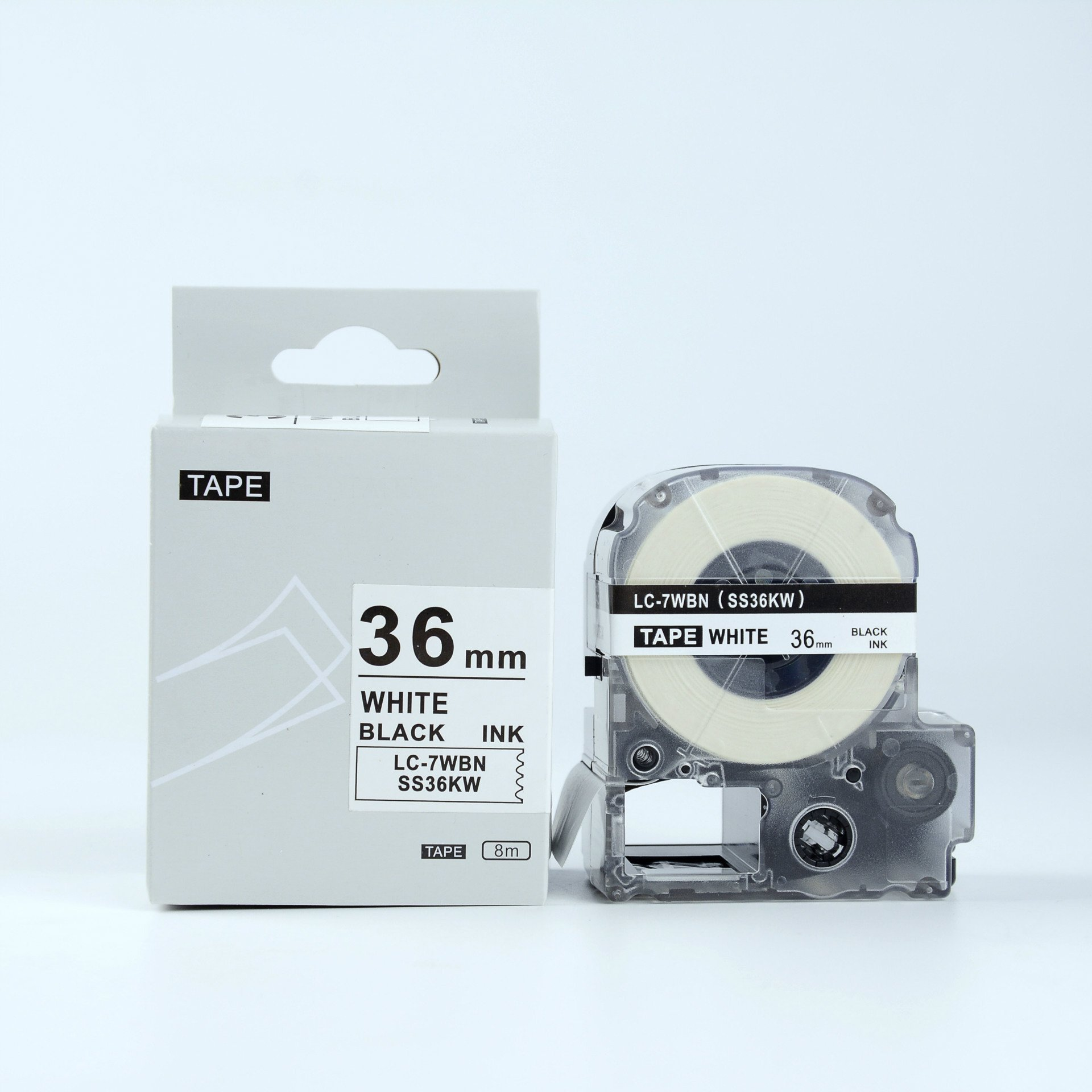 Compatible EPSON36mm LC-7WBN Label Tape Black on white 36mm 8m LW Serial Labe by Sumei Label (Image #1)